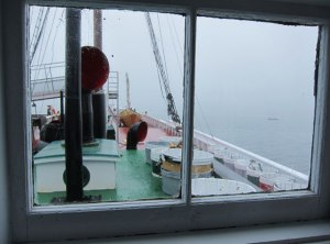 Helmsman's view on the Schooner (note dory usually stacked 6 high)