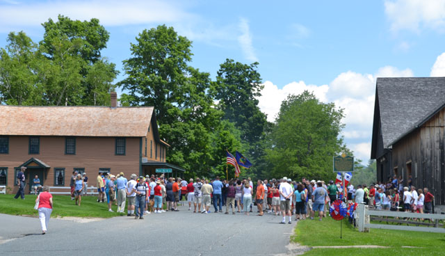 The crowd gathers for the march to the cemetery.