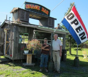 Paul and me in front of his Snack Bar. Make sure to stop!!