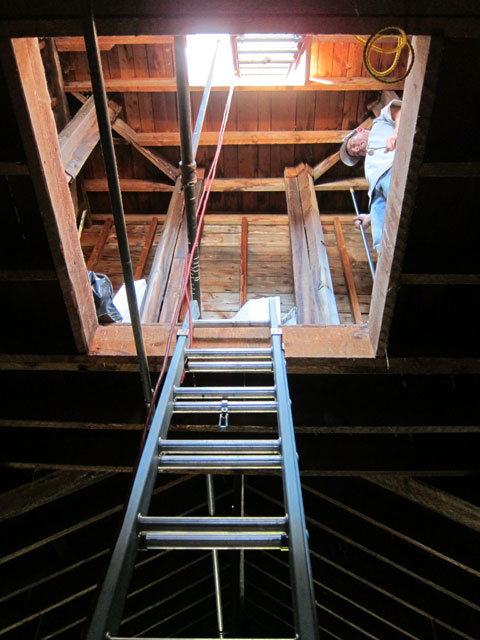 Looking up into the lower level of the cupola and you can see the ladder to the exposed tippy-top.