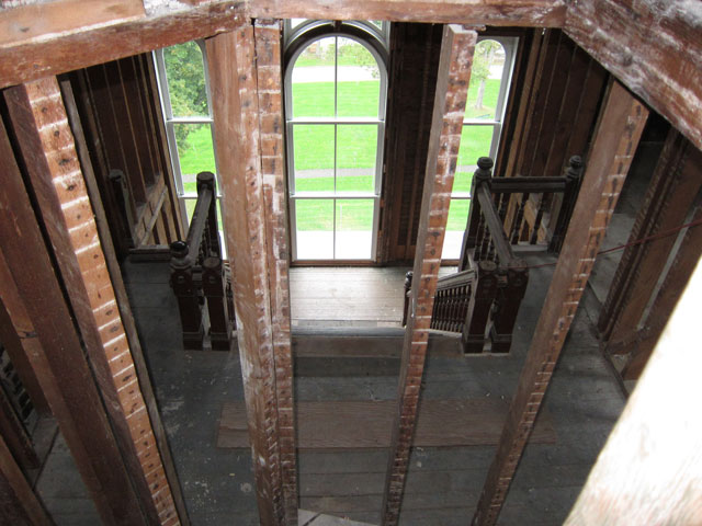 A small formerly enclosed circular stair to the removed towers, now roof. I stopped before getting to the hatch (there is a limit)