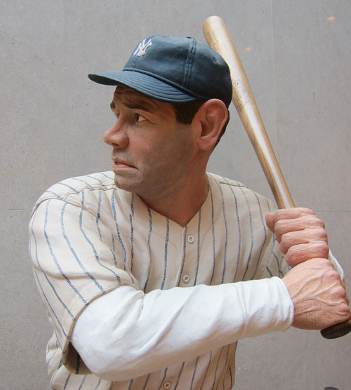"Wooden statue of ""The Babe."""