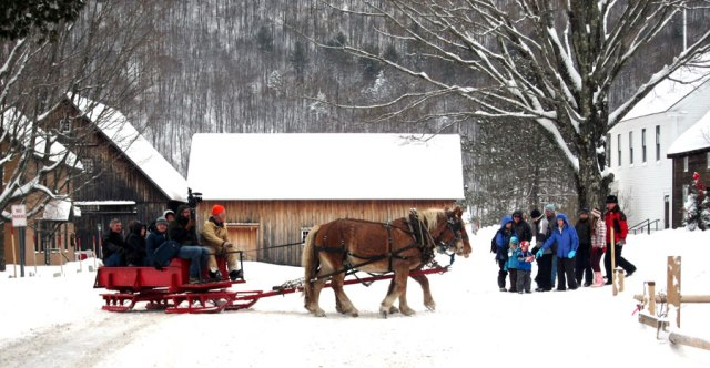 Real horse drawn sleigh rides.