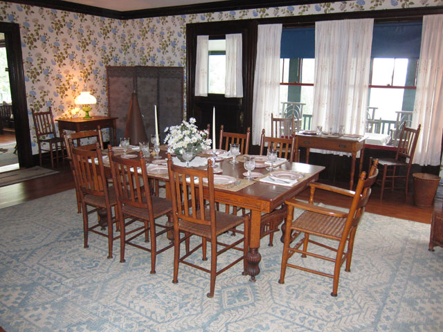 Dining Room in Roosevelt Cottage. Note large megaphone Eleanor used to call the family to meals.
