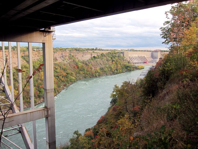 Looking south from under the Lewiston/Queenston Bridge to the NY power generation plant