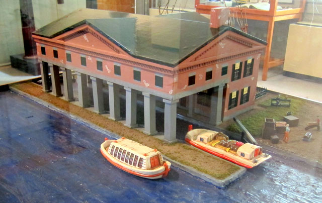 Model of where the boats were pulled in to weigh. Canal has now been filled in for roadway.