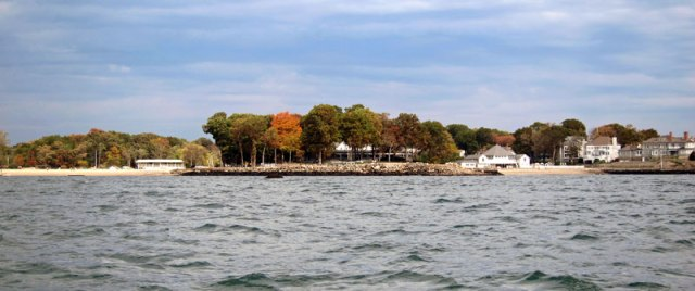 Roton Point from the Long Island Sound. Pavilion in center, roller coaster building to left.