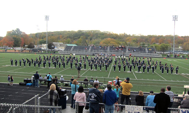 175 member Wilton High School marching band.
