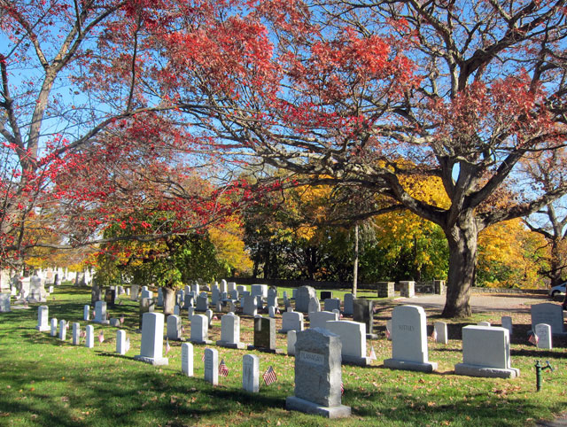 A view of part of the West Point Military Academy Cemetery.