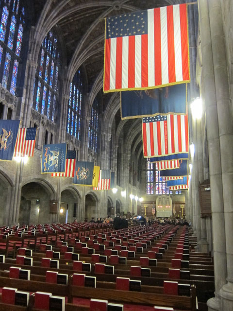 The Chapel at West Point with campaign flags