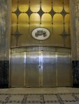 """Entrance to The Fisher Theater - note """"Body by Fisher"""" emblem"""