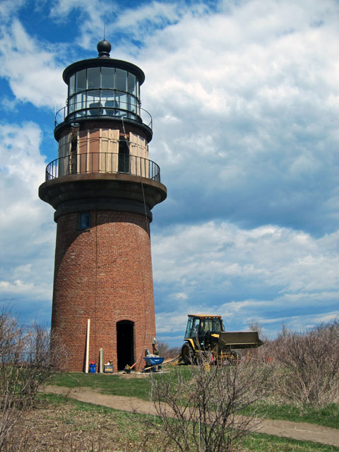 Gay Head Lighthouse - April 27, 2015, being readied for moving.