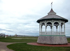 Bandstand in the middle of Ocean Park with the pier, and ferry landing, in the background