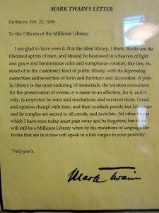 Letter Twain wrote about his visit to the library.