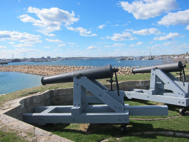 Fort Phoenix, Fairhaven, MA. Looking north up Acushnet River and New Bedford.