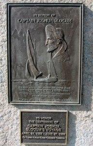 Plaque in same little park commemorating Slocum's voyage
