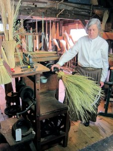 These corn stalk brooms were made differently from the Shaker broom works I saw at Canterbury Shaker Village last year.