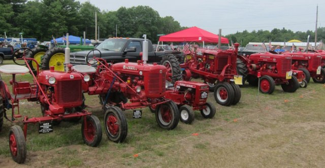 A Lineup of Tractors being exhibited.