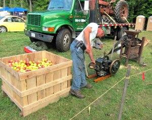 Preparing apples for cider.