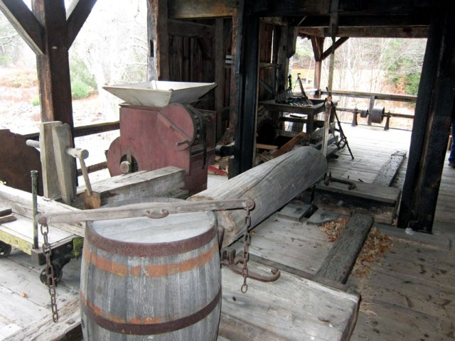 Saw mill run by the water wheel.