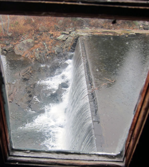 Waterfall study through an upstairs window.