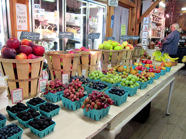 One display of fruits and vegetables.