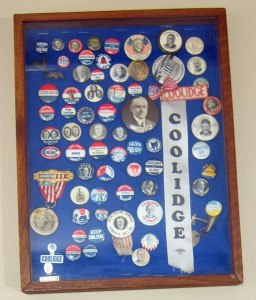 A closeup of some of the campaign buttons brought out of storage for the lecture.