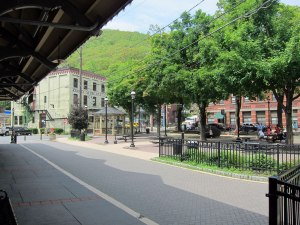 Looking across the square in Jim Thorpe from the train station.