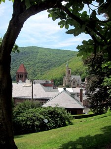 Looking back to Mauch Chunk from the Asa Packer Mansion