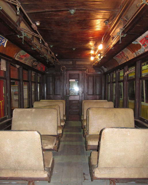 Passenger area of the Springfield Electric Railway car.