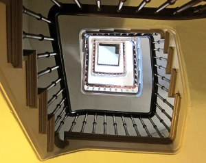 Looking up the stairs in the tower.