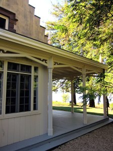 Rear of house, through porch to the Hudson