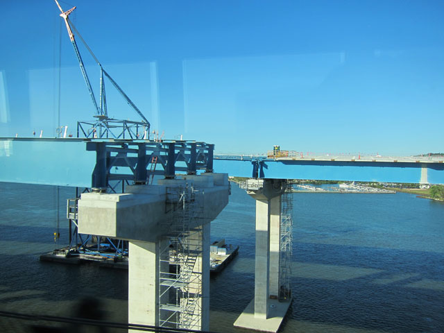 Construction on the new spans of the Tappen Zee Bridge.