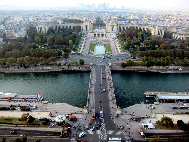 From the middle level of the Eiffel Tower
