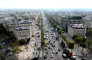 Looking down the Champs-Elysees towards Jardin des Tuiliers and the Louvre