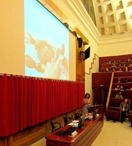 Mari's keynote speech before an audience of 350.