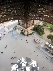 Looking down from the first level. The painting on the tarmac looks like spectators splatted after a fall.