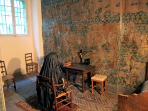 In another spot her chamber was recreated based upon descriptions written at the time