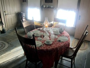 Dining room. Plates once washed were turned upside down to proven soot from accumulating.