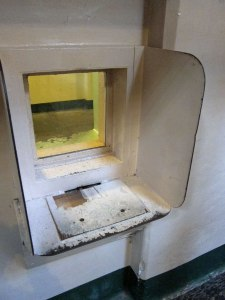 A window for an inmate to see his visitor - if any.