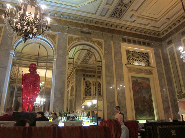 Lobby and bar in the Sir Francis Drake Hotel in San Francisco